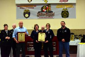 Members receiving a SMVFA Life Saving award.  Pictured from L to R:  Lt. John Grego (HVRS), PM Tracy Shaw (SMALS), PM Jennifer Rasmussen (SMALS), Rom Stepp (HVRS)
