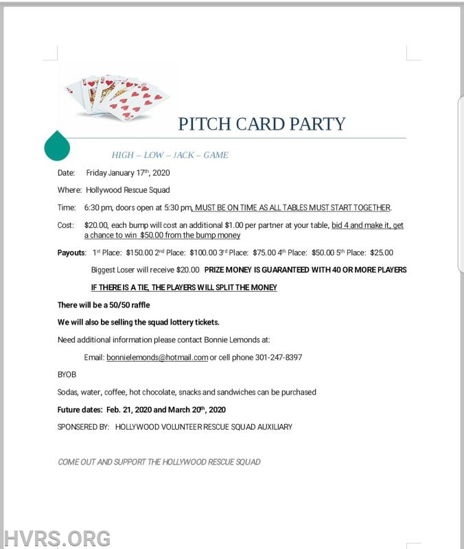 The Auxiliary will begin hosting Pitch card parties starting January 17th, 2020. Doors will open at 530pm, games will start at 630pm. BYOB.